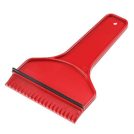 plastikowa skrobaczka do szyb z gumką i rączką czerwona