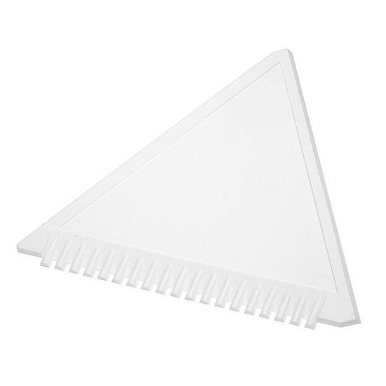 trójkątna skrobaczka do szyb z ząbkami biała