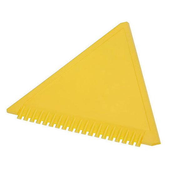 trójkątna skrobaczka do szyb z ząbkami żółta