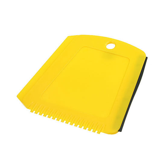 Skrobaczka do szyb z gumką + ząbki żółta