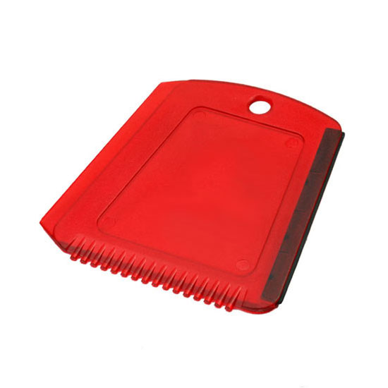 Skrobaczka do szyb z gumką + ząbki czerwona transparentna