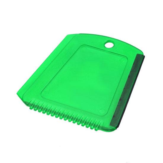 Skrobaczka do szyb z gumką + ząbki zielona transparentna