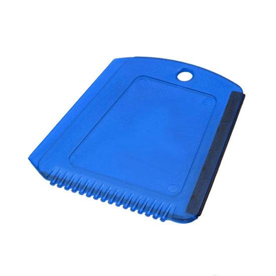 Skrobaczka do szyb z gumką + ząbki niebieska transparentna
