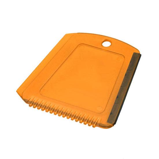 Skrobaczka do szyb z gumką + ząbki pomarańczowa transparentna