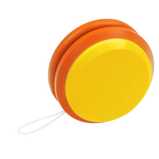 gadżet dla dzieci dwukolorowe plastikowe jojo żółty i pomarańczowy
