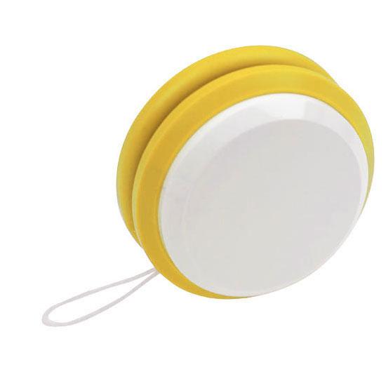 gadżet dla dzieci dwukolorowe plastikowe jojo białe i żółte
