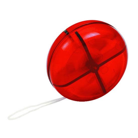 gadżet dla dzieci czerwone półprzezroczyste plastikowe jojo