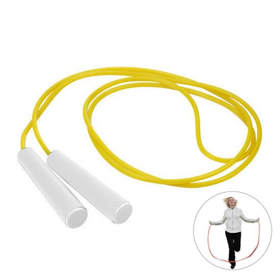 żółta skakanka z białą rączką