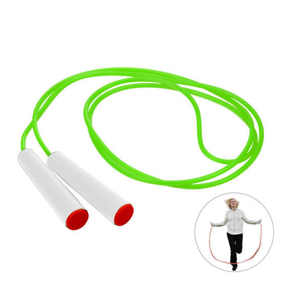 gadżet dla dzieci zielona skakanka białe rączki z czerwoną zaślepką