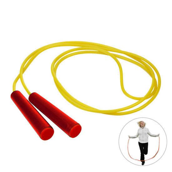 gadżet dla dzieci żółta skakanka czerwone rączki z czerwoną zaślepką
