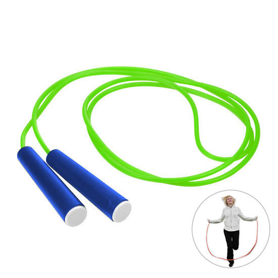 zielona skakanka niebieski rączki z białą zaślepką gadżet dla dzieci