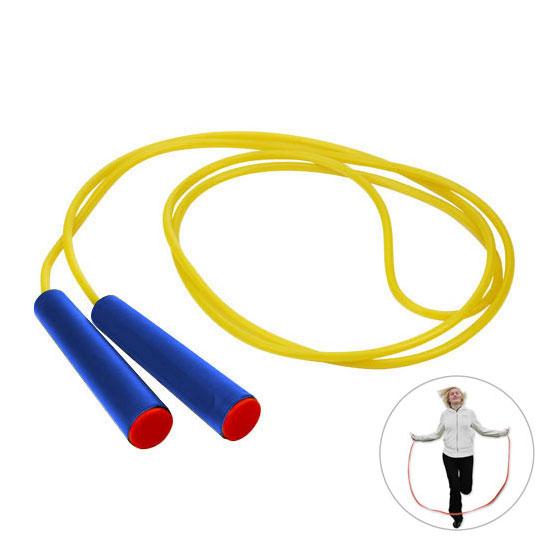 żółta skakanka niebieski rączki z różową zaślepką gadżet dla dzieci