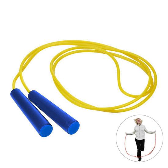 żółta skakanka niebieski rączki z niebieską zaślepką gadżet dla dzieci
