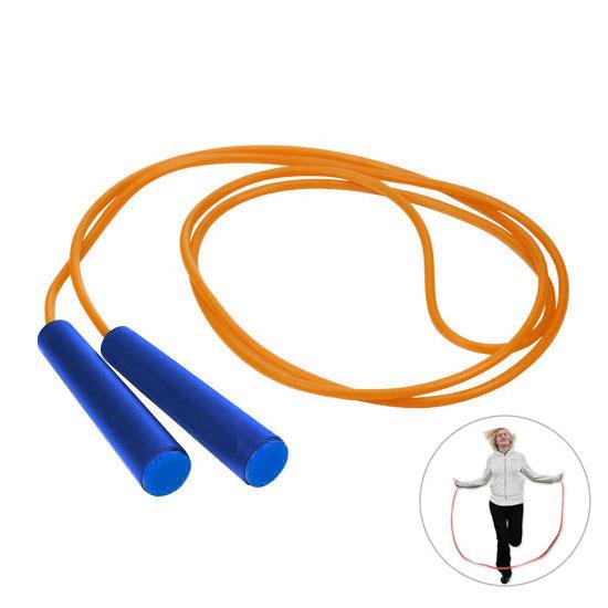 pomarańczowa skakanka niebieski rączki z niebieską zaślepką gadżet dla dzieci