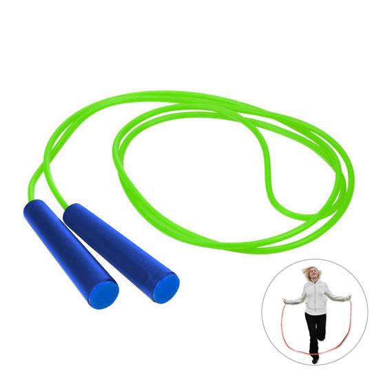 zielona skakanka niebieskie rączki z niebieską zaślepką gadżet dla dzieci