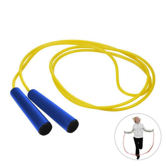 żółta skakanka niebieskie rączki z czarną zaślepką gadżet dla dzieci
