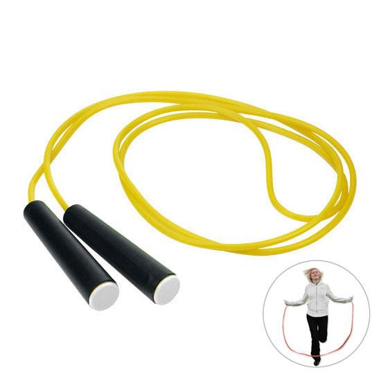 żółta skakanka czarne rączki z białą zaślepką gadżet dla dzieci