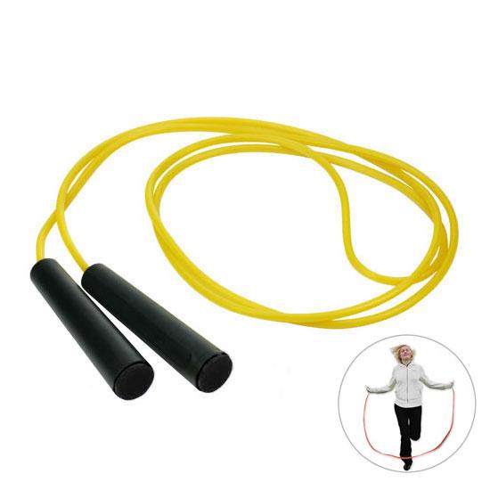 żółta skakanka z czarnymi rączkami