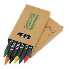 gadżet dla dzieci kredki woskowe w kartoniku z nadrukiem