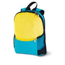 plecak niebieski z żółtą kieszenią