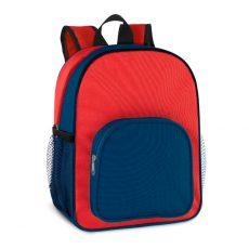 plecak czerwony z niebieską kieszenią